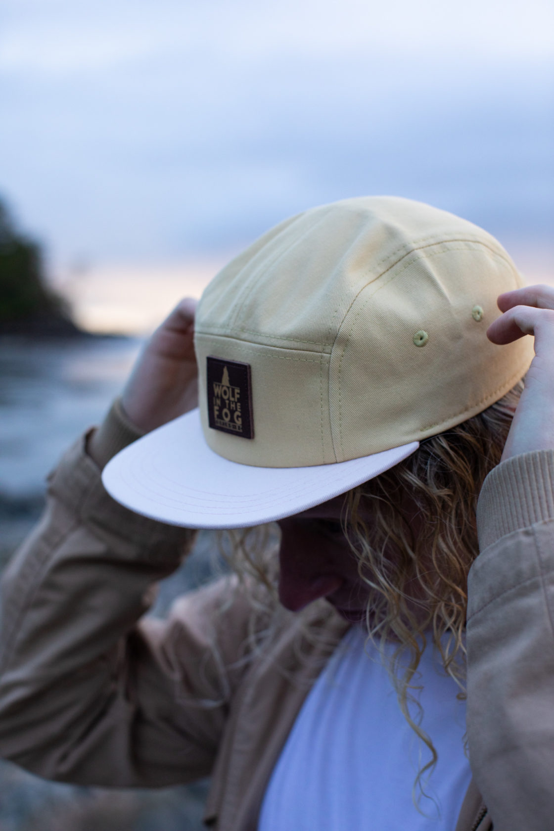 5 Panel Hat in Chartreuse and White